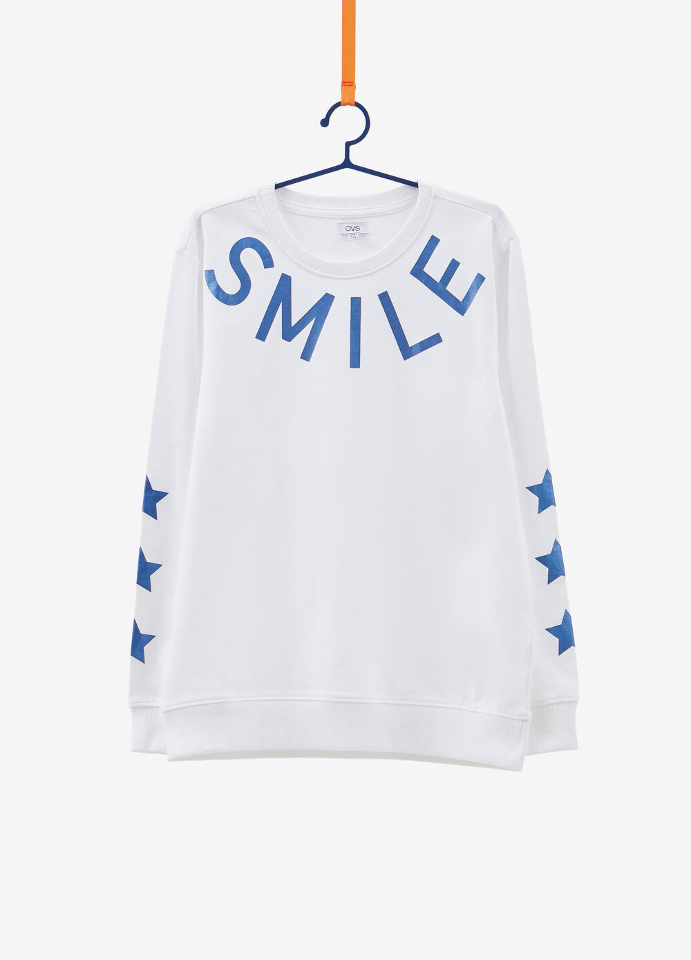 Sweatshirt in cotton with printed lettering and stars