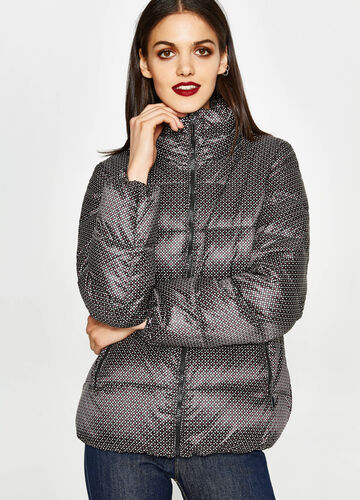 Down jacket with all-over polka dot print