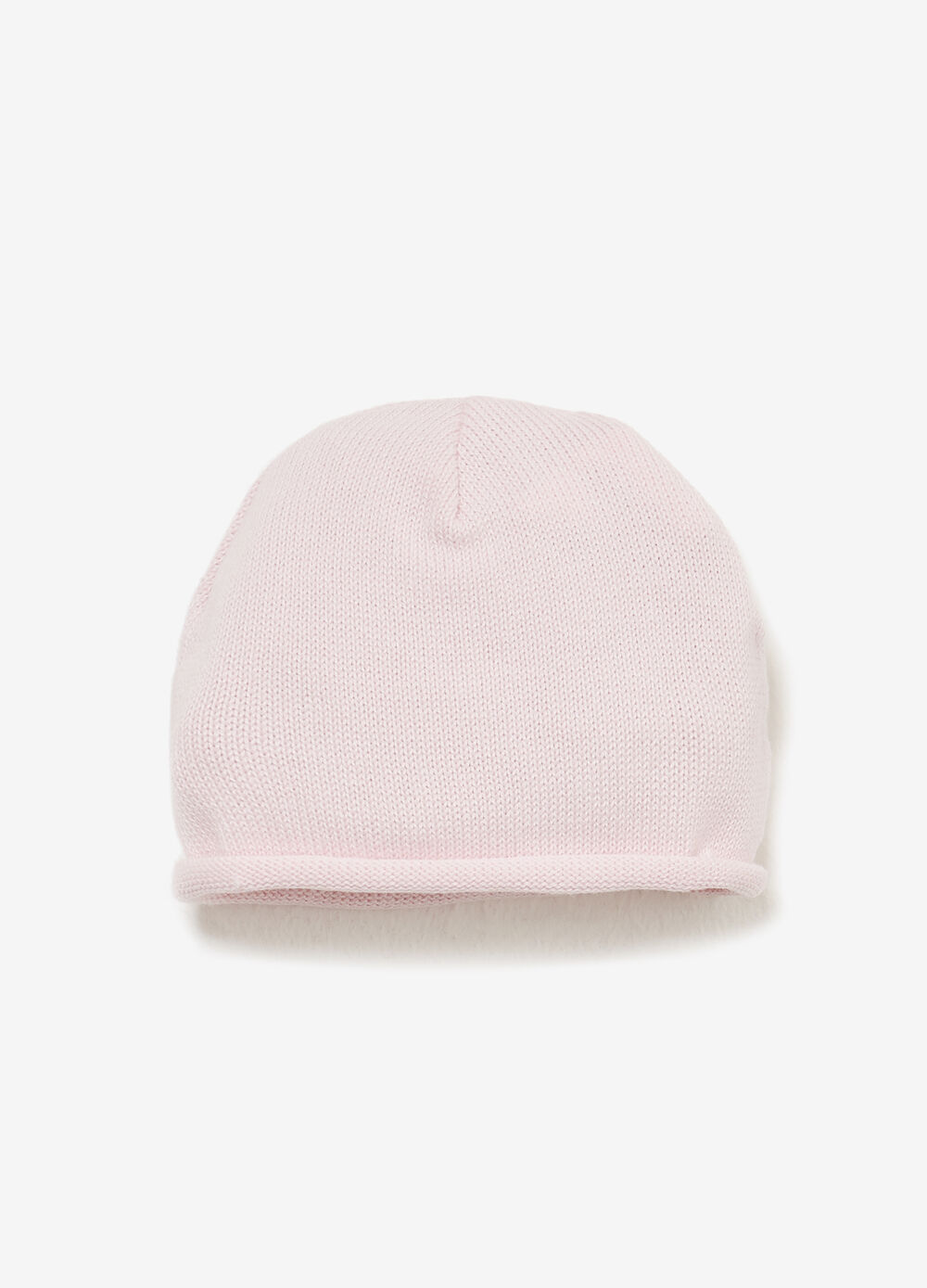 Cotton beanie cap with roll-up brim
