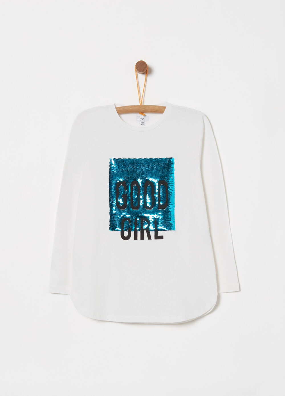 Long-sleeved cotton T-shirt with sequins
