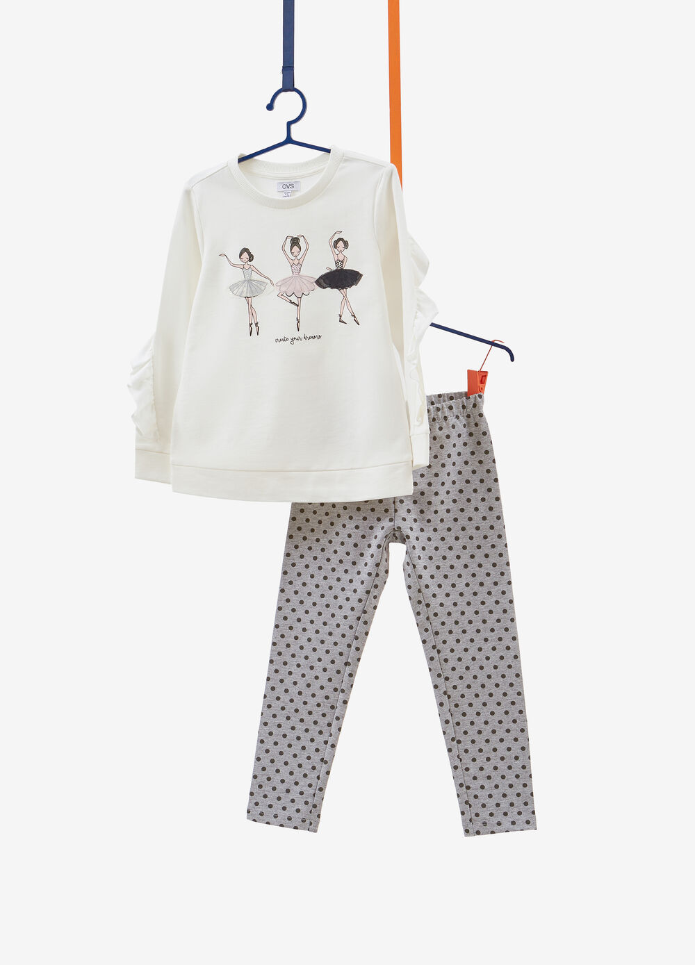 Cotton tracksuit with ballerina print and ruffle