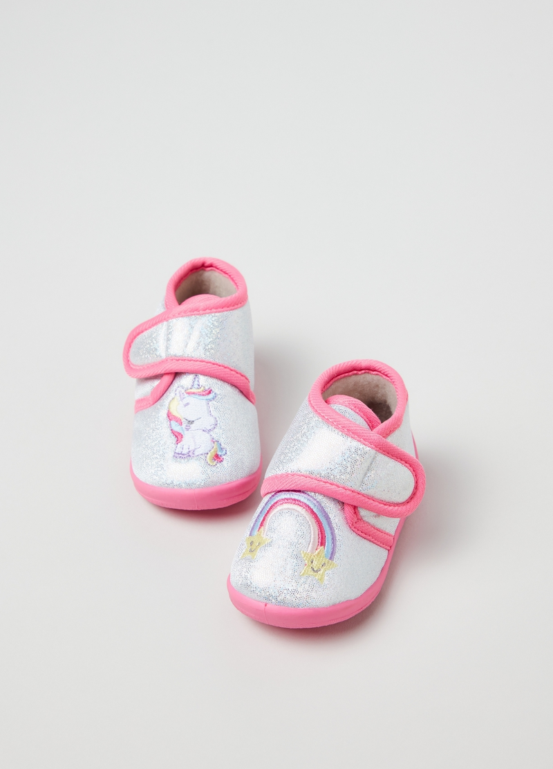 Glitter slippers with unicorn embroidery image number null