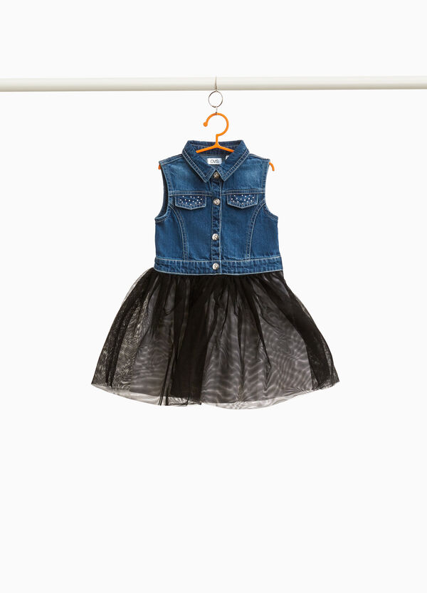 Sleeveless denim dress with tulle