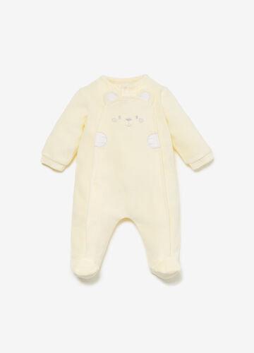 Romper suit with ears and teddy bear embroidery