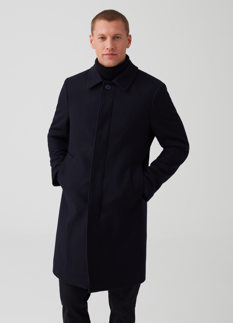 Solid colour cloth coat with pockets image number null