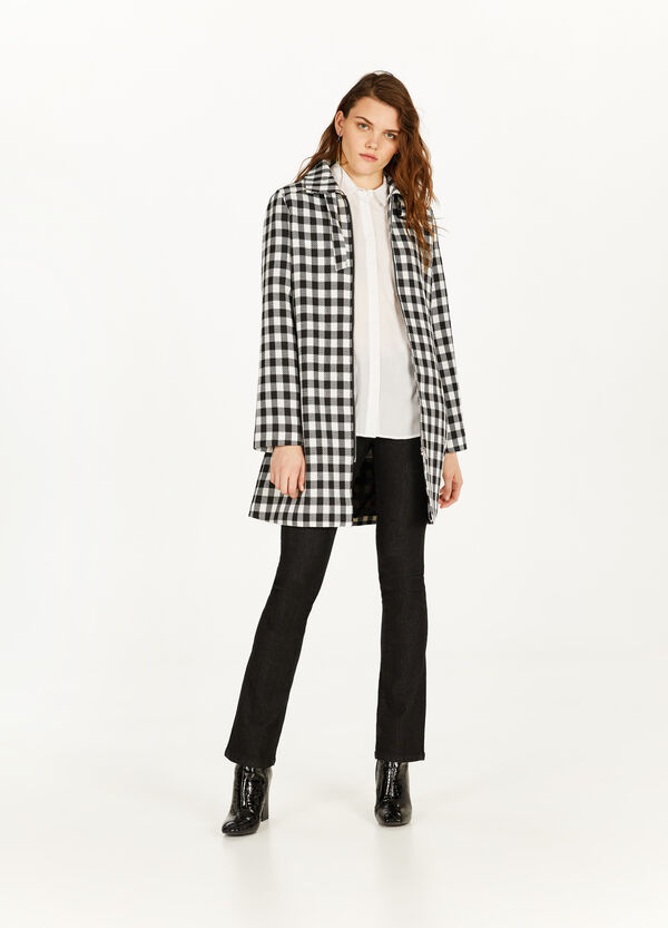 Check patterned coat with zip