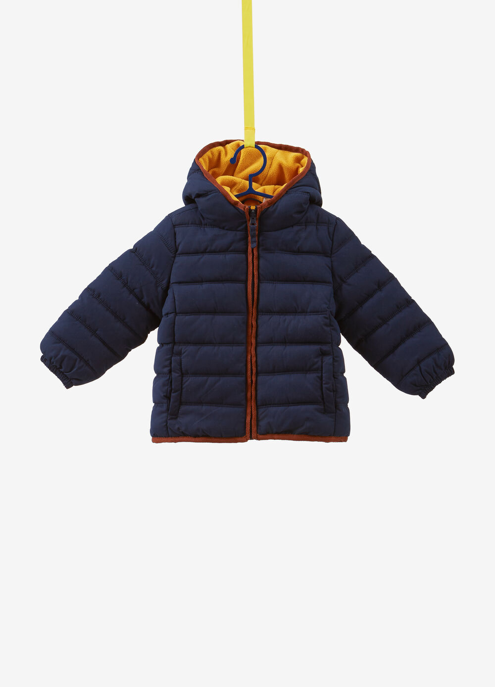 Solid colour padded jacket with stitching
