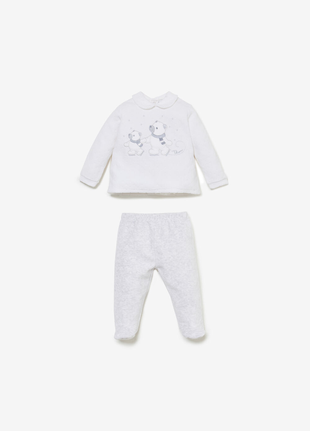 THUN cotton outfit with teddy polar bear patch
