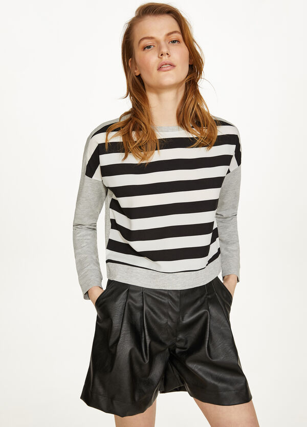Crop T-shirt in 100% cotton with stripes