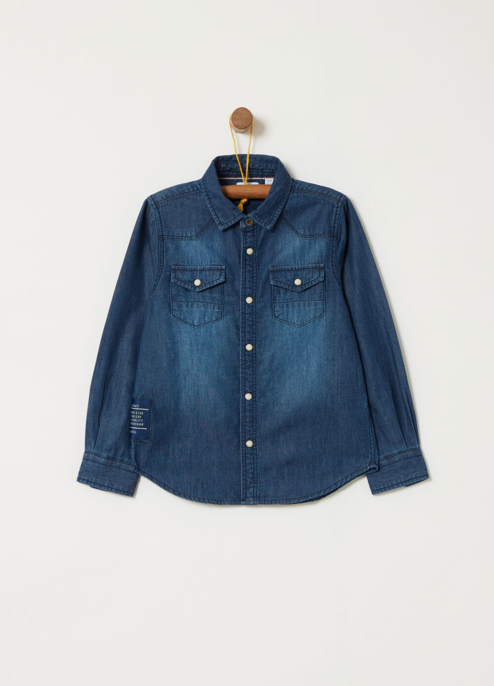 Washed-effect lightweight denim shirt