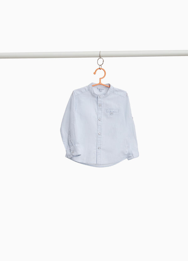Cotton and linen Mandarin shirt