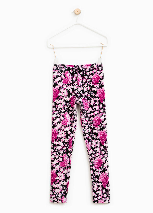 Ribbed leggings with all-over print | OVS