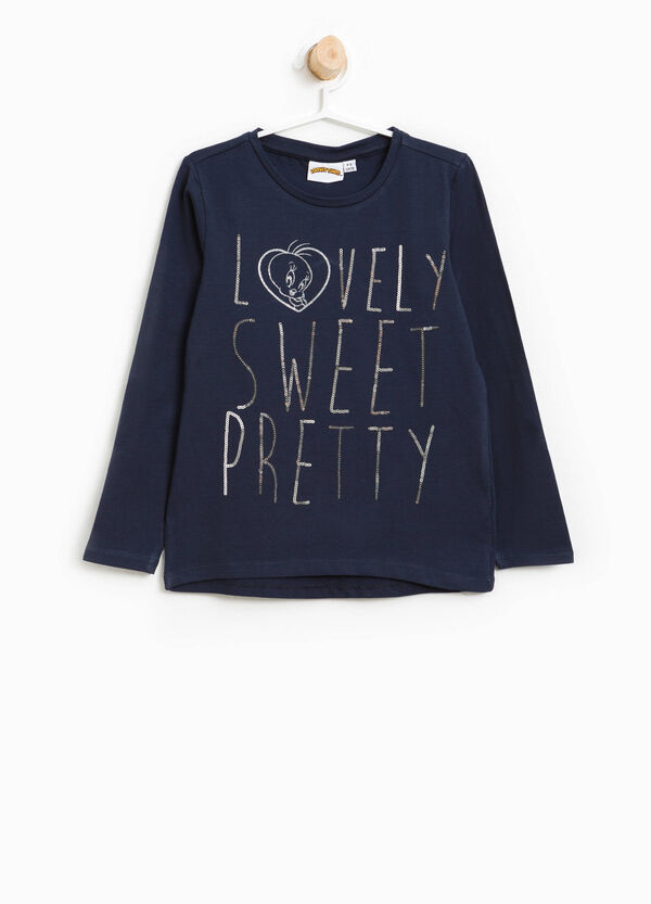 T-shirt in cotone stretch Titti paillettes | OVS