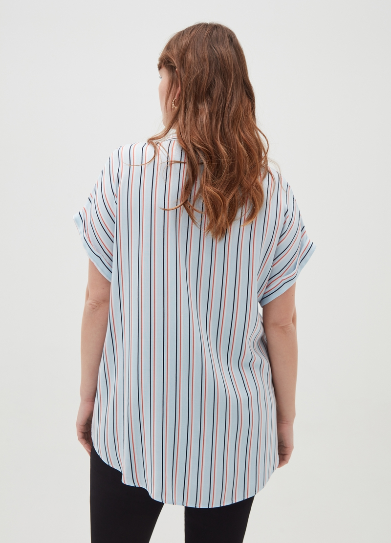 Curvy striped 100% viscose blouse image number null
