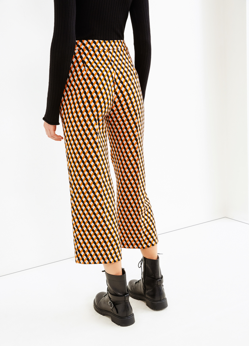 Cropped trousers with geometric pattern image number null