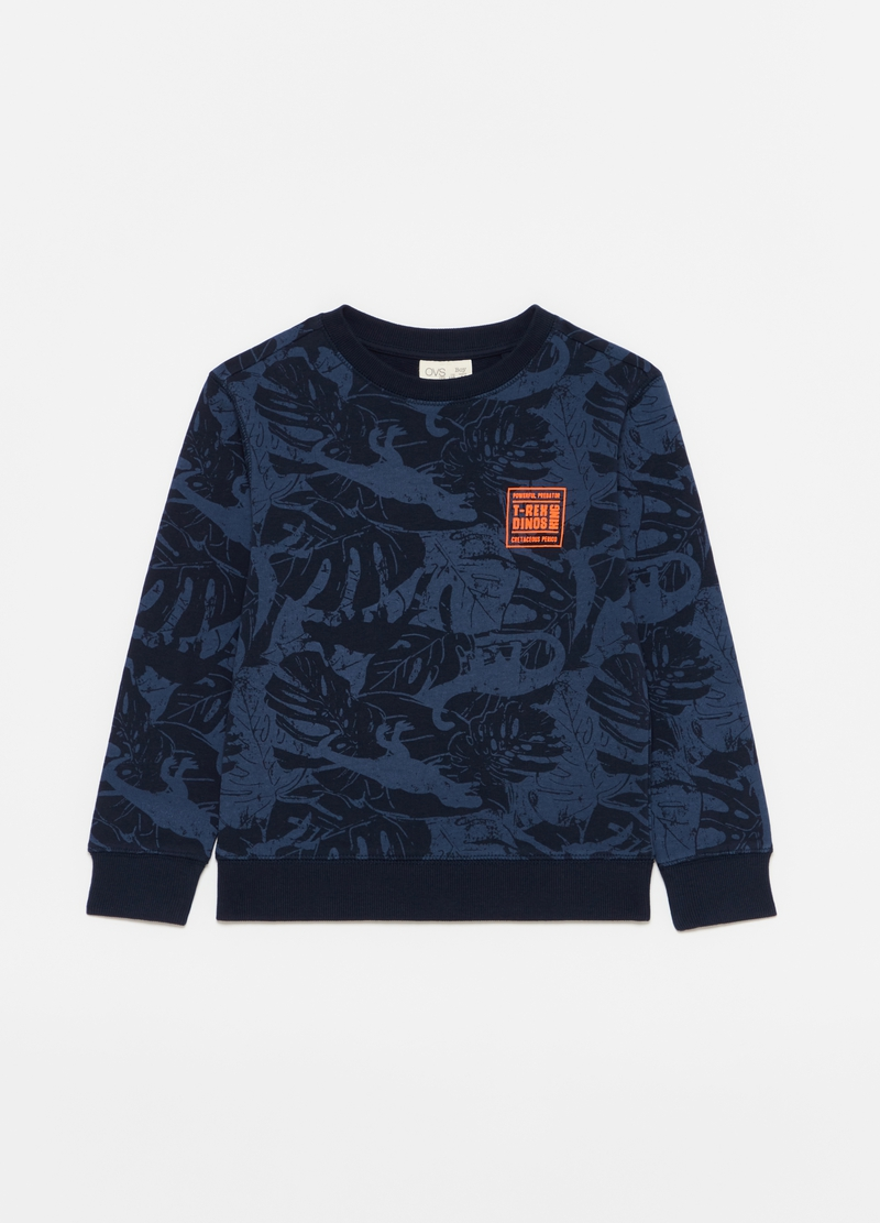 Crew neck sweatshirt with dinosaurs pattern image number null