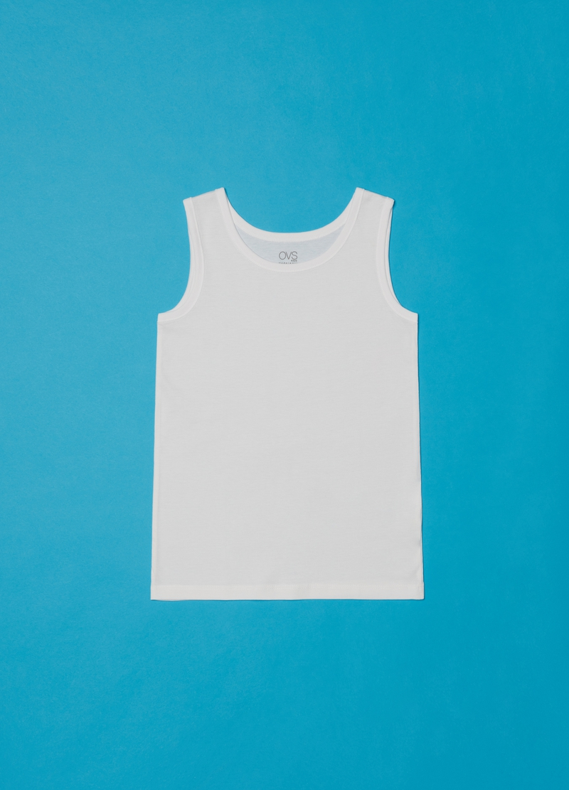 Two-pack solid colour racerback vests in 100% cotton image number null