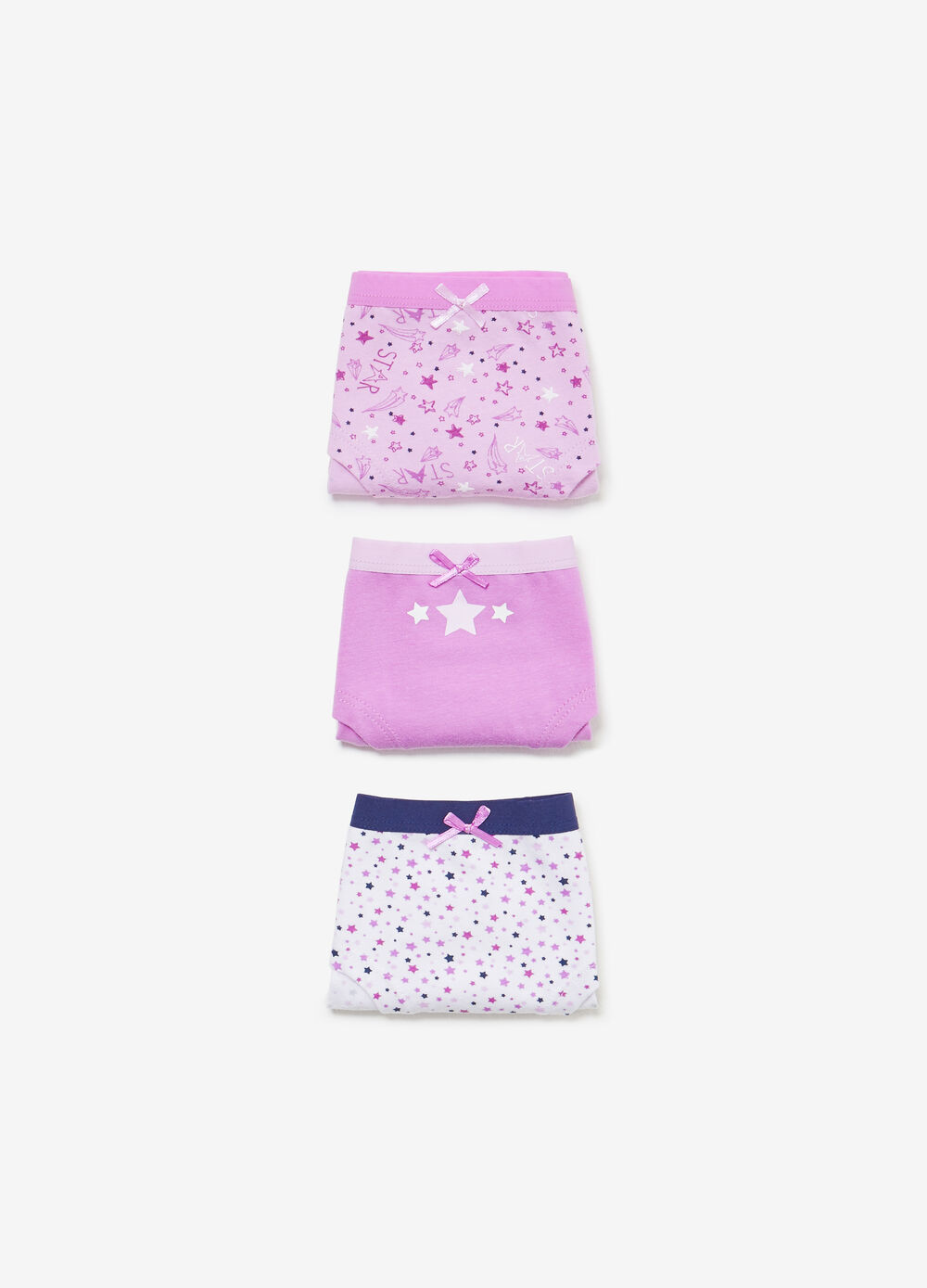 Set tre culotte stretch unito e stelle