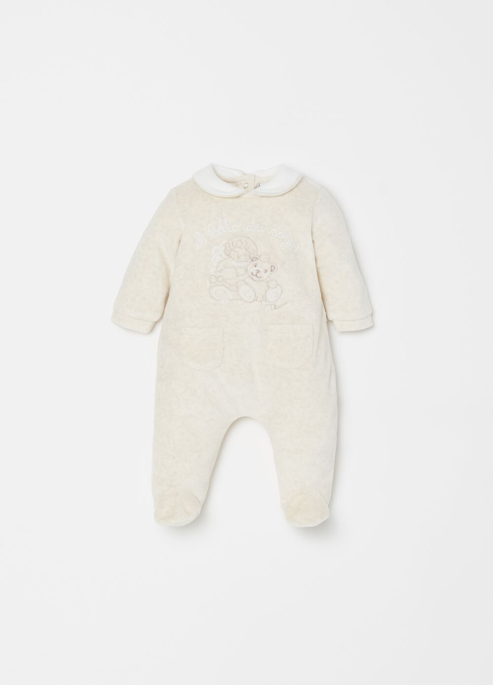 THUN Teddy onesie with feet and small pocket