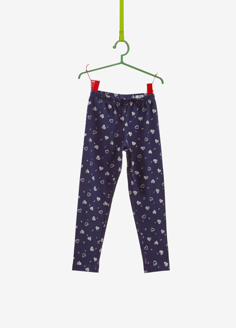 Stretch cotton leggings with glitter pattern