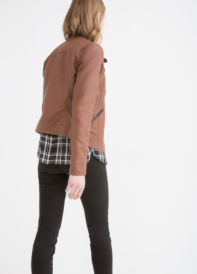 Leather look jacket with zip and button