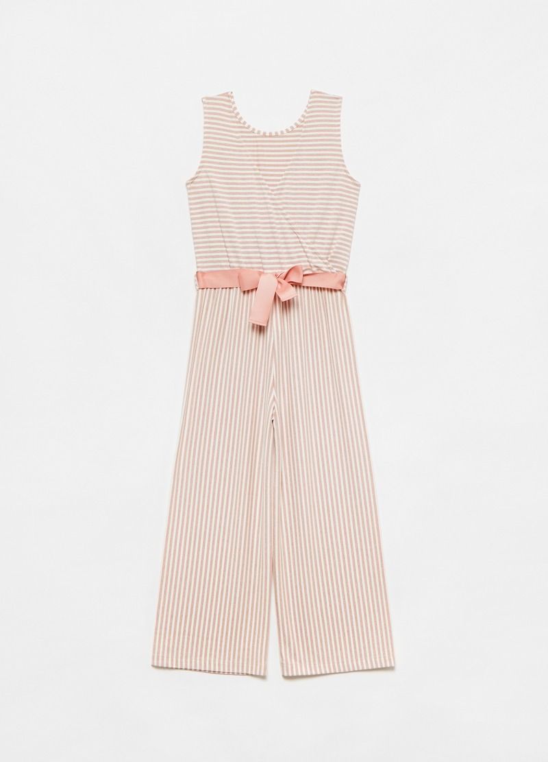 Striped playsuit with belt image number null