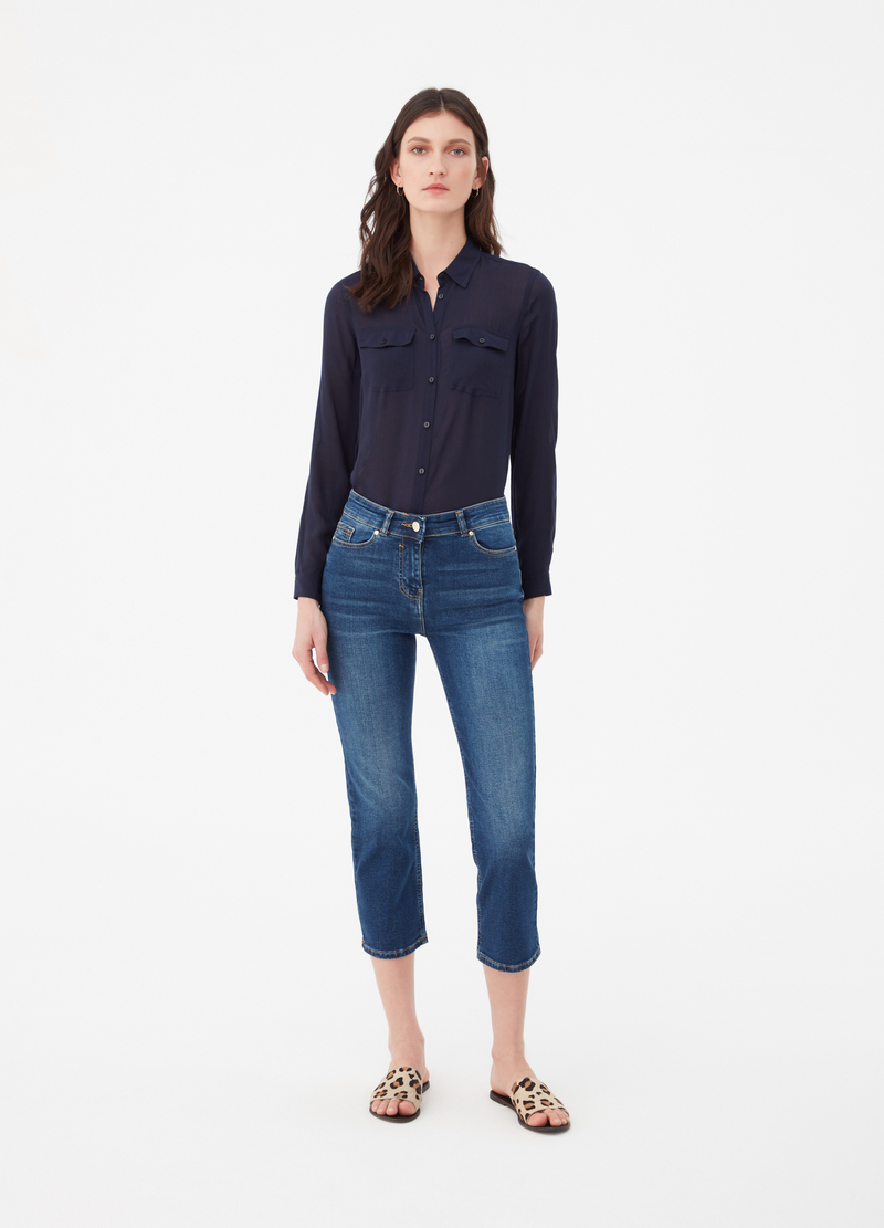 Jeans cropped straight fit effetto delavato image number null