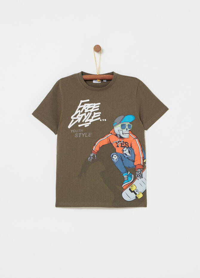 T-shirt jersey con stampa skater