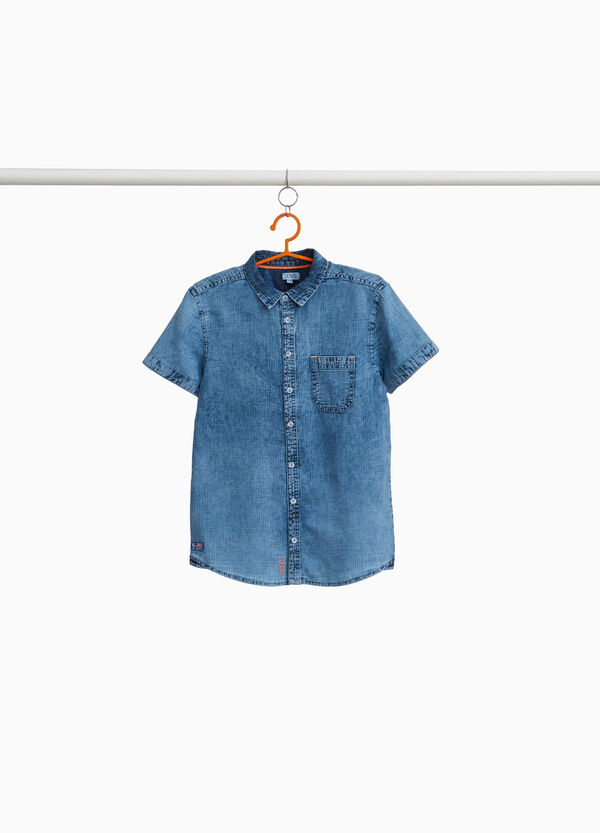 Cotton micro check shirt with washed effect