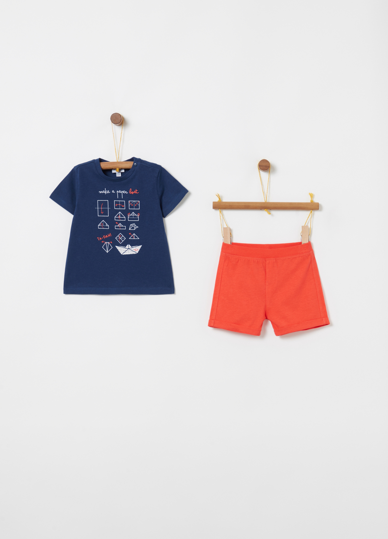 T-shirt and shorts jogging set with ribbing and print image number null