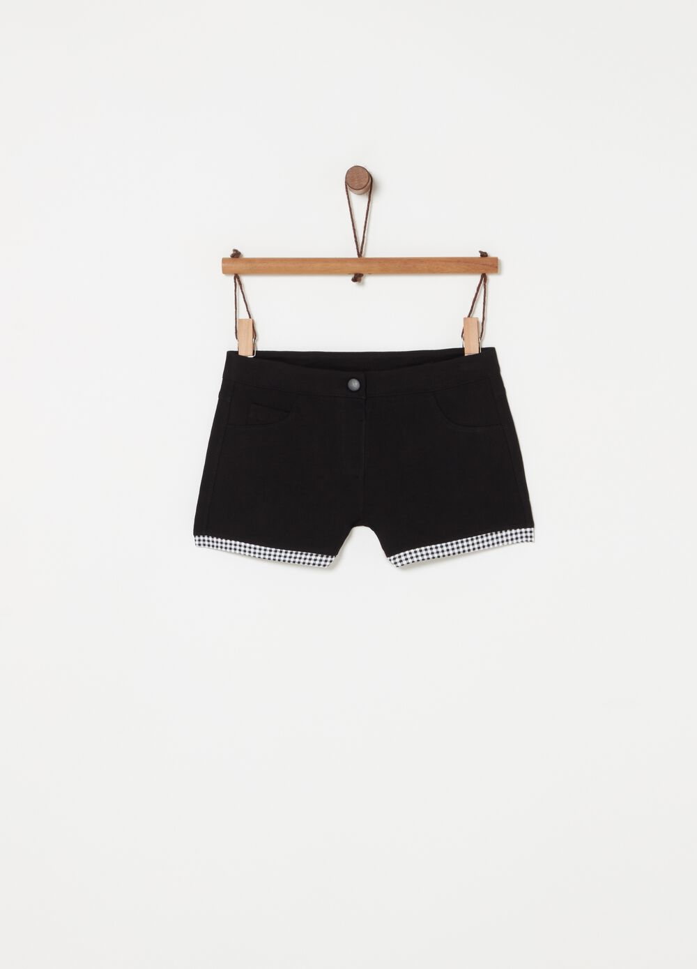 Shorts with pockets, check inserts and button