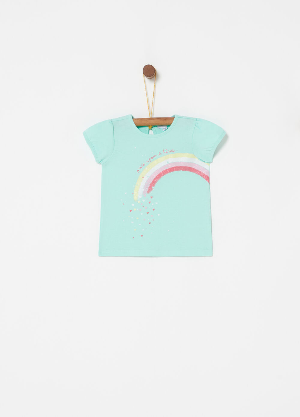 T-shirt in cotone stampa glitter arcobaleno