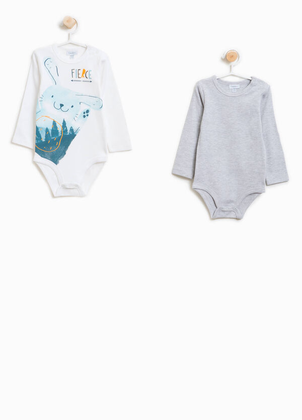 Two-pack print and solid colour bodysuits in 100% cotton | OVS