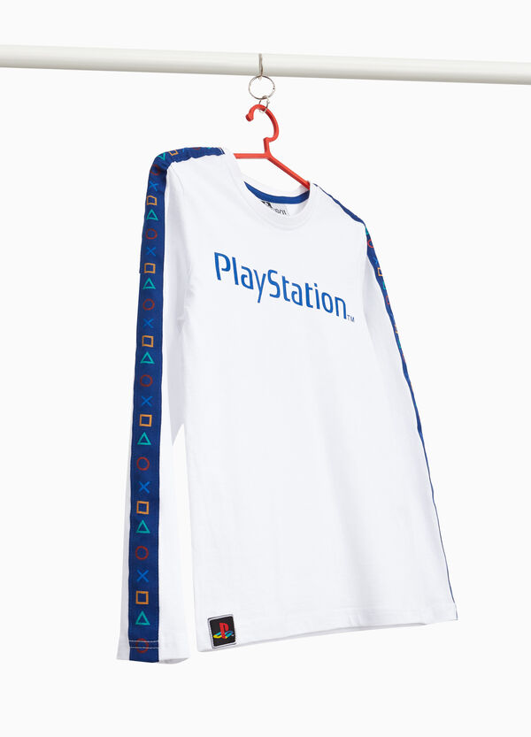 Cotton T-shirt with Play Station print