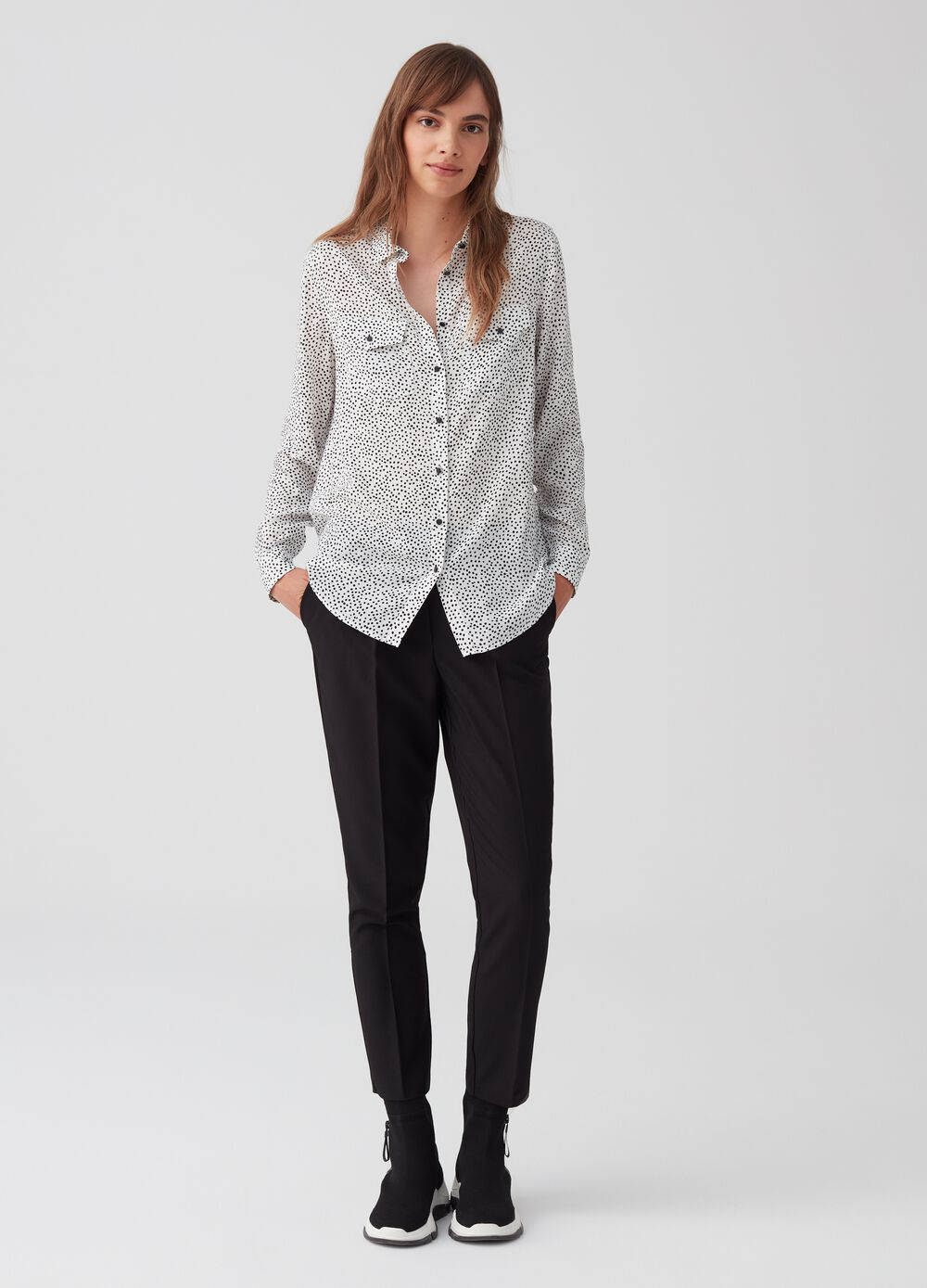 Formal crop trousers with elasticated waist