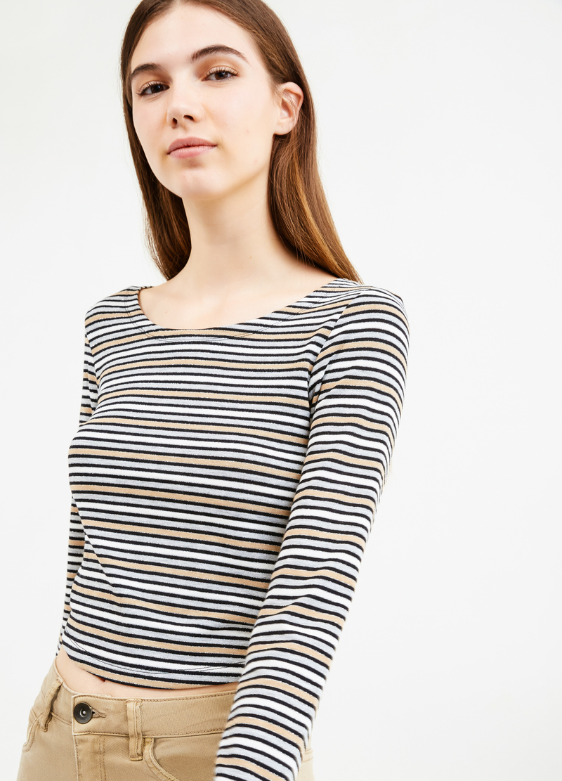 T-shirt in striped stretch viscose blend image number null