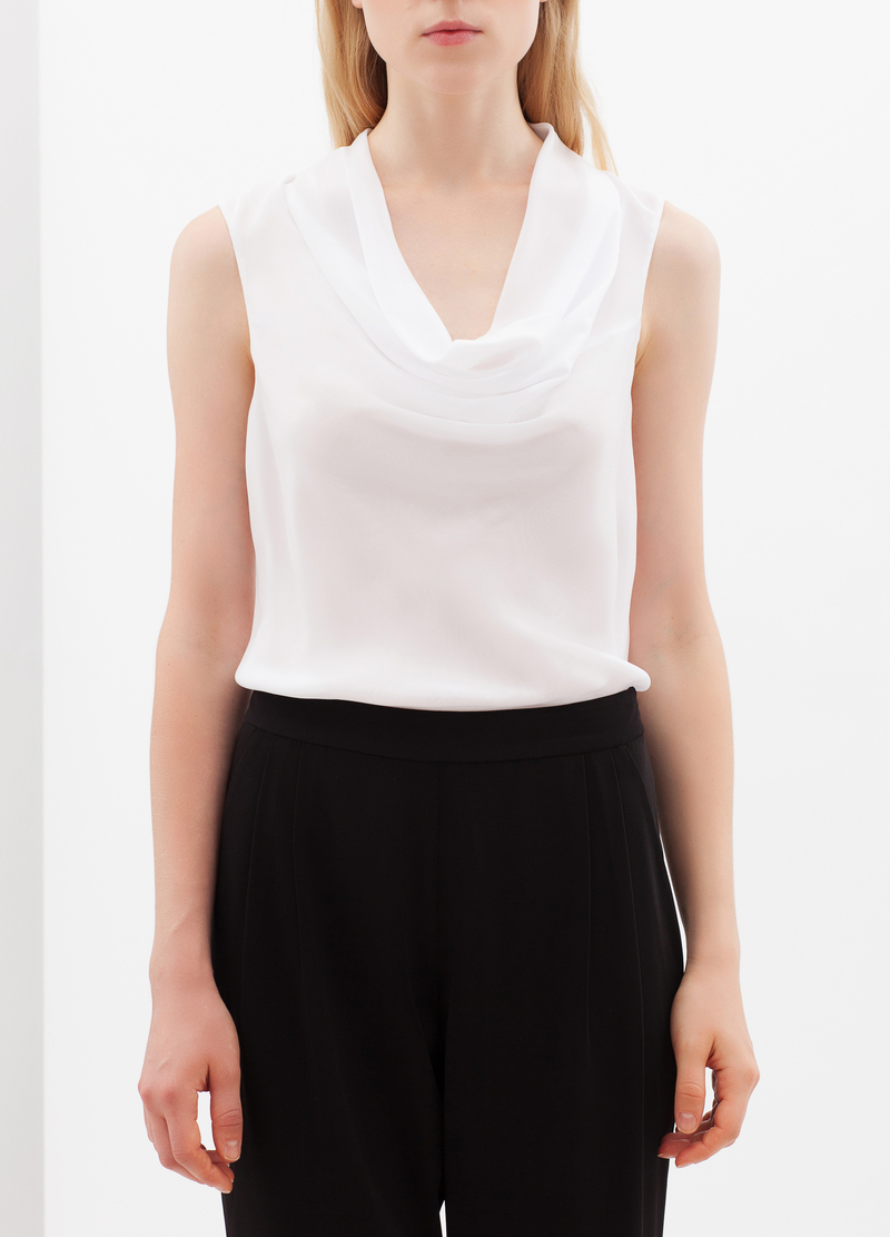 Blouse with drape neckline. image number null