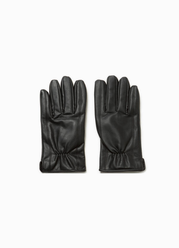 Solid colour leather look gloves