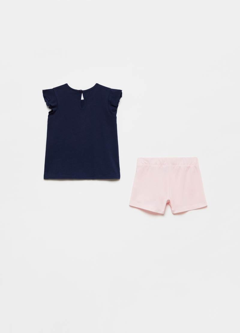 Jogging set tank top con stampa e shorts image number null