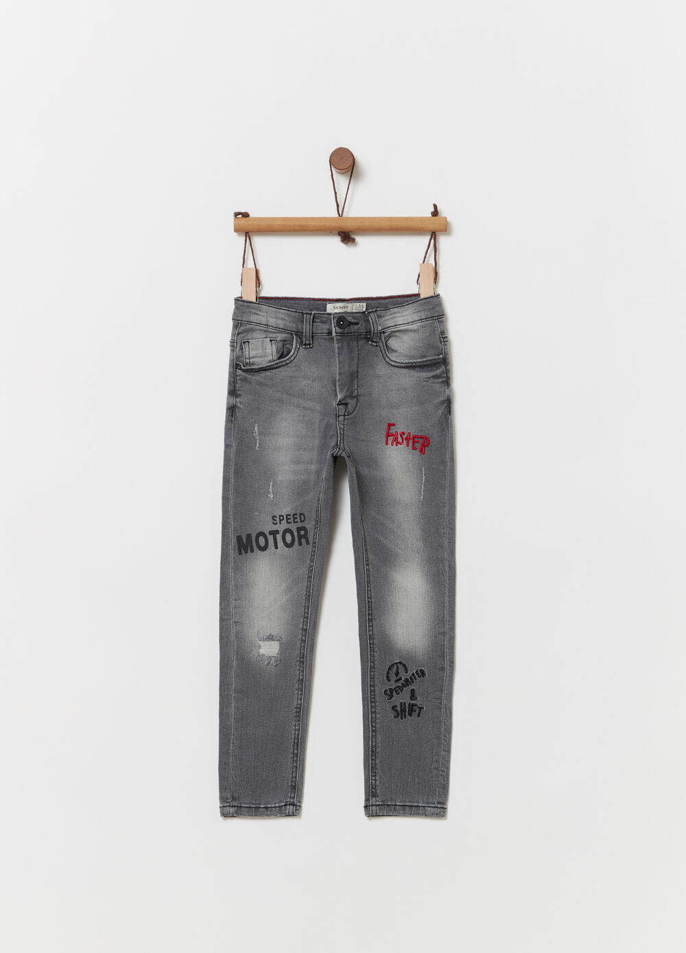 Slim-fit jeans with embroidery and print