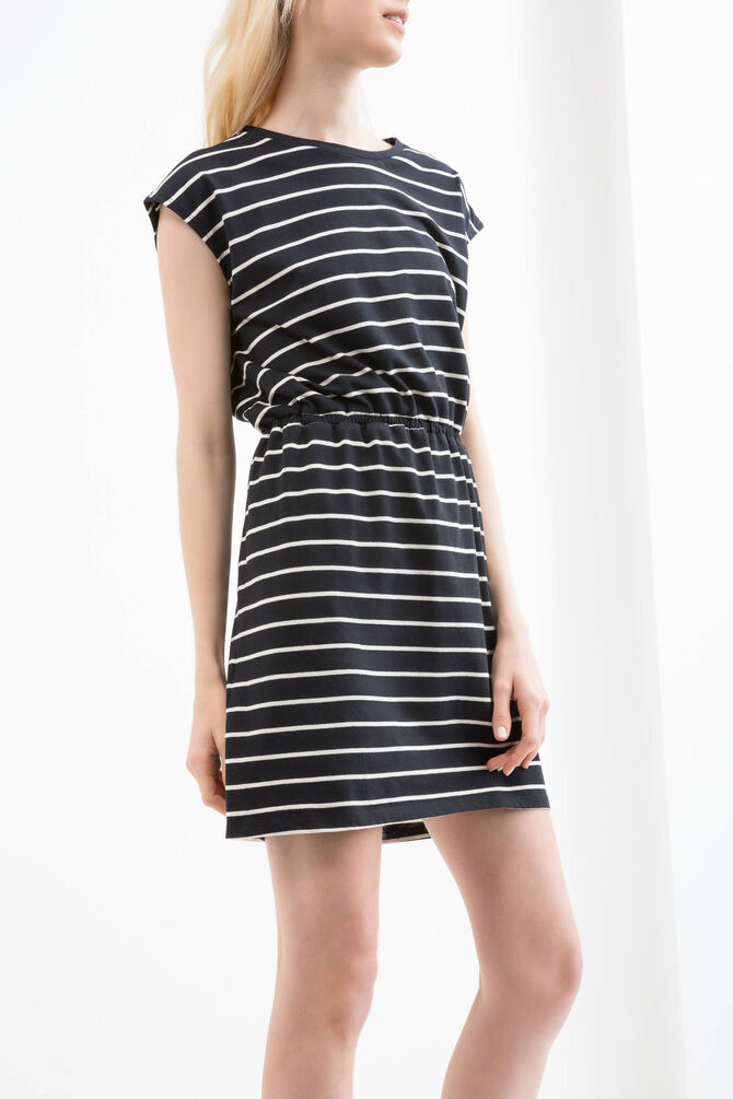 Striped cotton blend dress