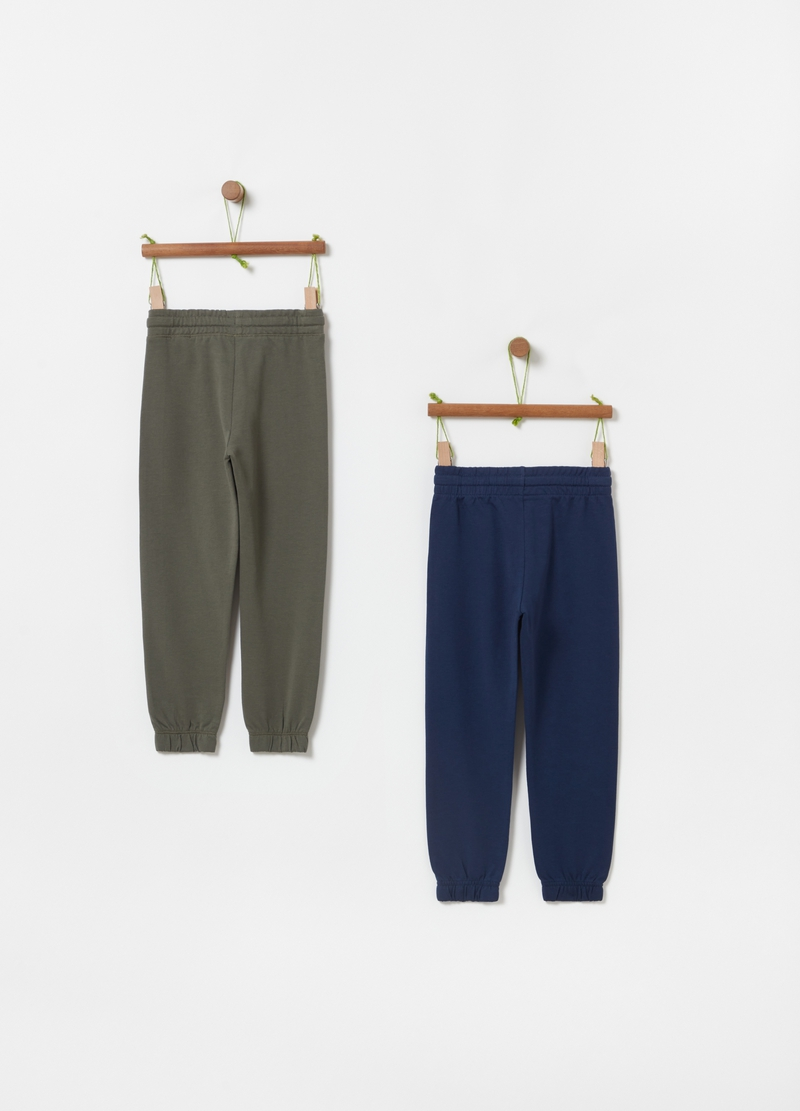 Two-pack solid colour French terry joggers image number null
