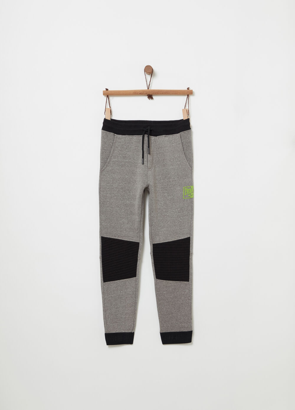 Fleece trousers with print on the side