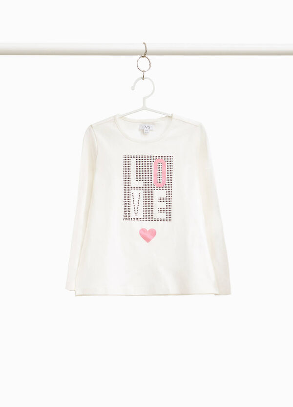 Stretch cotton T-shirt with speckled print