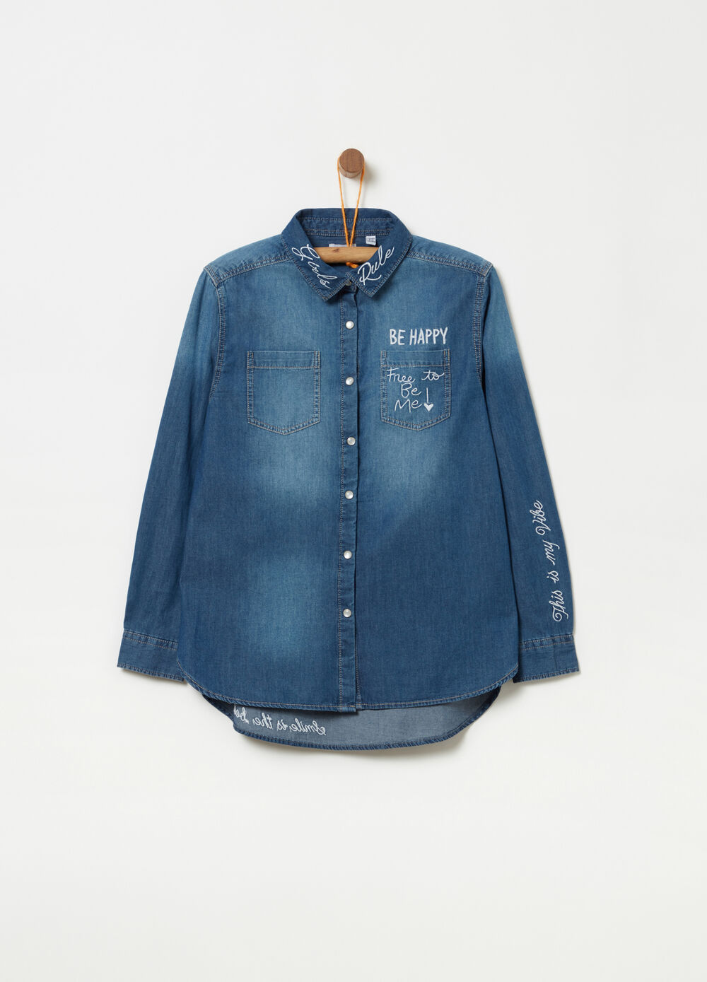 Cotton chambray shirt with embroidery