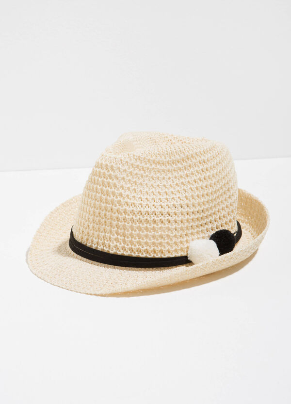 Hat with wide brim, tie and pompom | OVS