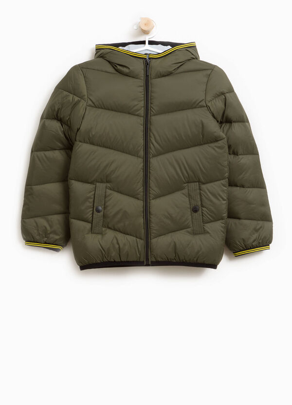 Down jacket with striped trim | OVS
