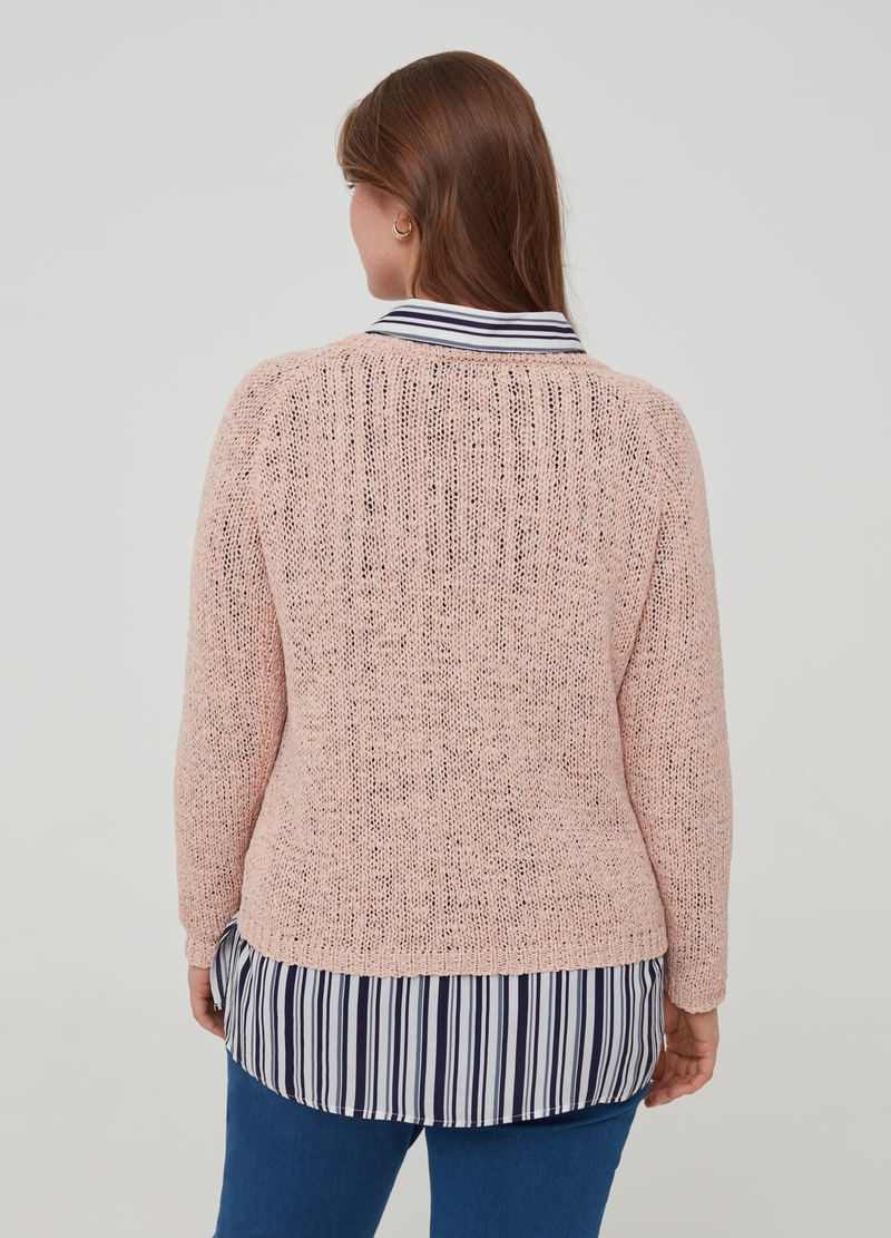 Curvy knitted pullover with raglan sleeves image number null