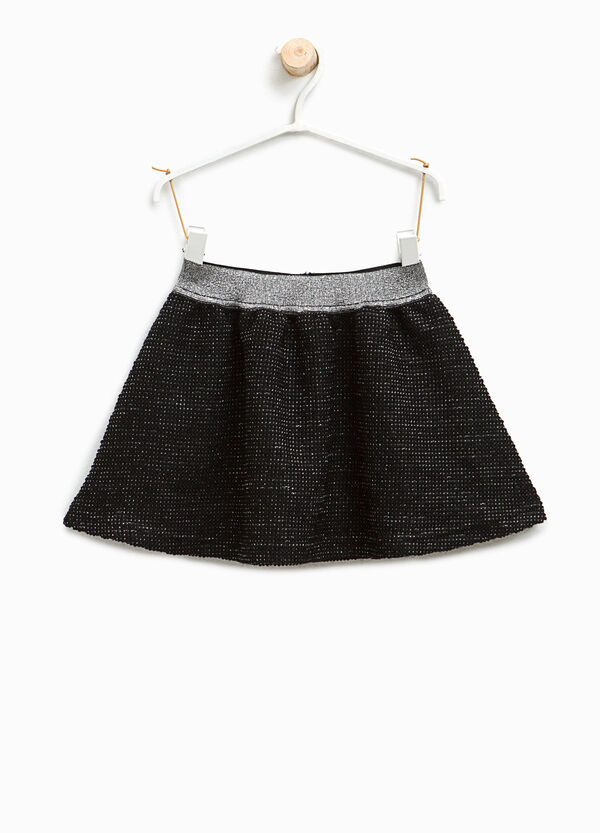 Skirt with raised weave and glitter waist | OVS