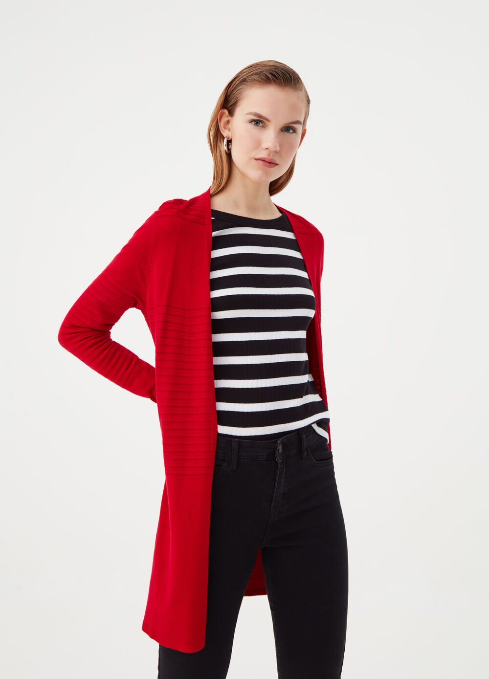Long cardigan with striped lurex